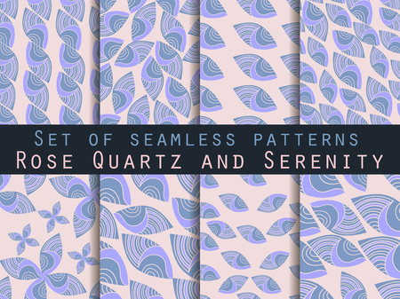 crankle: Set of seamless patterns.  Rose quartz and serenity. Vector.
