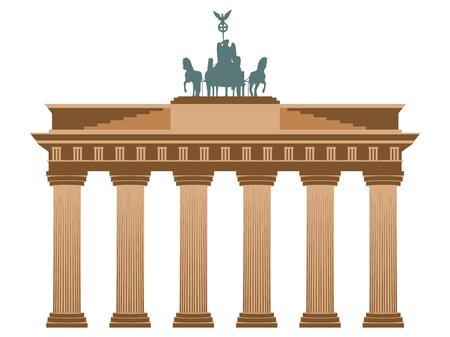 베를린의 브란덴부르크 문 (Brandenburg Gate). 흰색 배경에 고립.