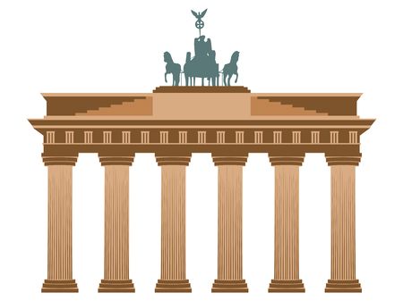 Brandenburg Gate in Berlin. Isolated on white background. Vettoriali