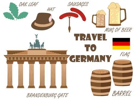 Welkom in Duitsland. Symbolen van Duitsland. Toerisme en avontuur.