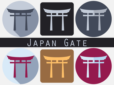torii: Japan Gate. Torii gate. Flat. Shinto. Historical monument.