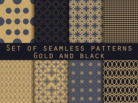 Serie di modelli senza soluzione. seamless geometrico. Oro e nero.