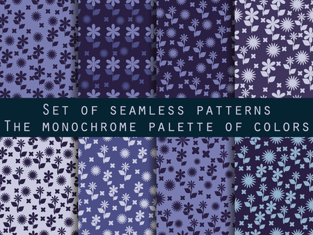 textile background: Set of seamless patterns with flowers. Shades of blue, purple, violet colors.
