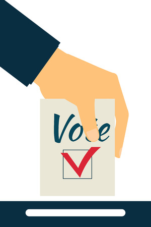 Elections. Vote. Hand holds ballot. Social poll. Exit poll.