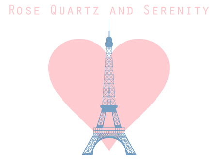 french culture: Eiffel Tower on the background of the heart. Rose quartz and serenity violet colors.