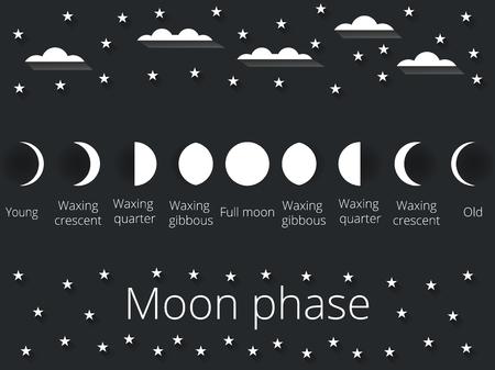 noche y luna: Las fases de la luna. Ilustración del vector.