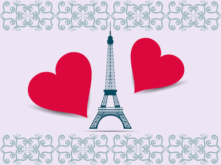 nice france: Eiffel Tower. Valentine. Postcard from the Eiffel Tower and the hearts. Vector illustration.