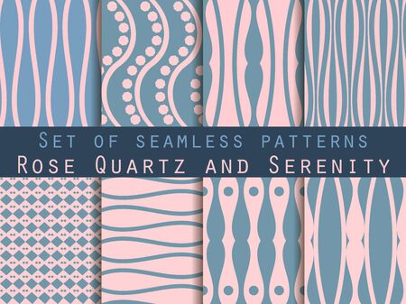 crankle: Geometric seamless pattern. Rose quartz and serenity violet colors. The pattern for wallpaper, tiles, fabrics, backgrounds. Illustration