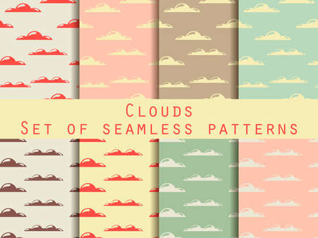 atmospheric: Clouds. Set of seamless patterns. The pattern for wallpaper, tiles, fabrics and designs. Vector illustration.