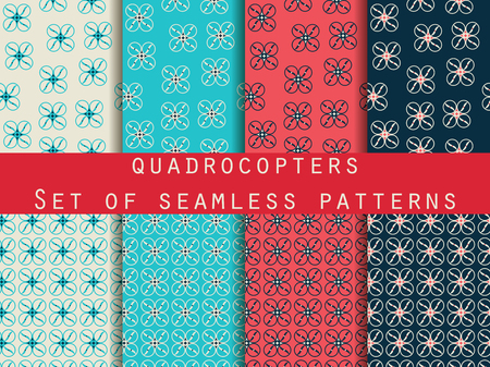unmanned: Quadrocopter, drone. Unmanned aerial vehicle. Set of seamless patterns. Pattern for wrapping paper, wallpaper, tiles, fabrics, backgrounds. Vector illustration. Illustration