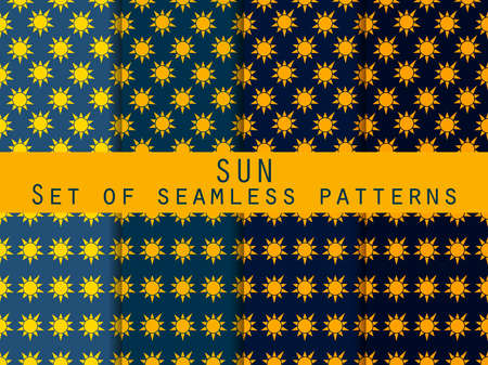 sun bed: Sun. Set of seamless patterns. The pattern for wallpaper, bed linen, tiles, fabrics, backgrounds. Vector illustration.