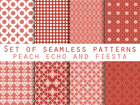 echo: Set of seamless patterns. Peach echo and fiesta color. Color trend in 2016. Geometric seamless pattern. Vector illustration.