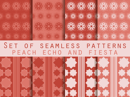 echo: Set of seamless patterns. Geometric patterns. Peach echo and fiesta color. Color trend in 2016. The pattern for wallpaper, tiles, fabrics and designs. Vector illustration. Illustration