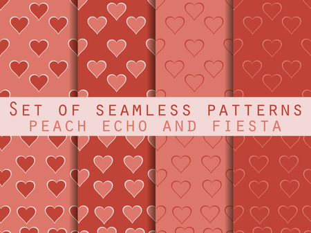 echo: Set of seamless patterns with hearts. Valentines Day. Peach echo and fiesta color. Color trend in 2016. Romantic patterns. Vector illustration.