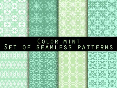 repeat pattern: Set seamless patterns. Color mint. The pattern for wallpaper, bed linen, tiles, fabrics, backgrounds. Vector illustration. Illustration