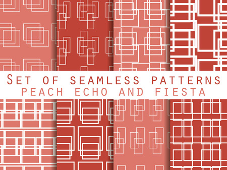 echo: Set seamless patterns with lines and squares. Peach echo and fiesta color. The pattern for wallpaper, bed linen, tiles, fabrics, backgrounds. Vector illustration.