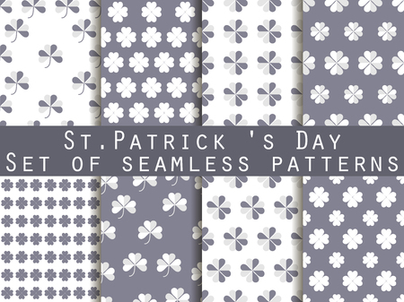 erin: Clover. Set of seamless pattern with clover. St.Patricks Day. Black and white color. The pattern for wallpaper, bed linen, tiles, fabrics, backgrounds. Vector illustration. Illustration
