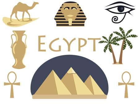 ojo de horus: Bienvenido a Egipto. Símbolos de Egipto. Turismo y aventura. Ilustración del vector. Vectores