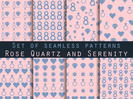 karat: 8 March. Set of seamless patterns. Patterns with hearts, rings, flowers and diamonds. Rose quartz and serenity. For wallpaper, bed linen, tiles, fabrics, backgrounds. Vector illustration.