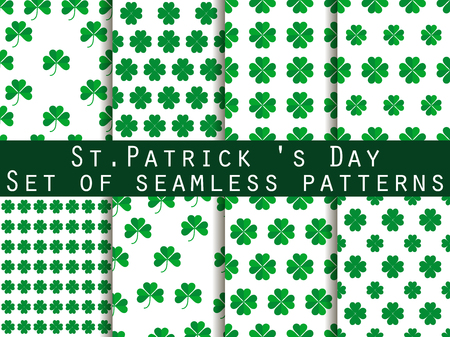 seamless clover: Clover. Set of seamless pattern with clover. St.Patricks Day. Green color. The pattern for wallpaper, bed linen, tiles, fabrics, backgrounds. Vector illustration.