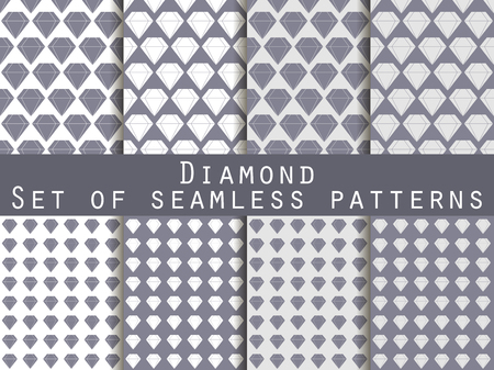 diamonds on black: Jewelry. Set of seamless patterns with diamonds. Black and white color. The faceted diamond. The pattern for wallpaper, bed linen, tiles, fabrics, backgrounds. Vector illustration.