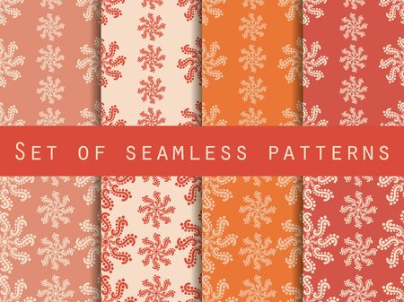 pastel backgrounds: Set seamless patterns. Pastel shades. The pattern for wallpaper, bed linen, tiles, fabrics, backgrounds. Vector illustration.