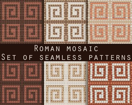 Antieke mozaïek, roman mozaïek. Set van naadloze patronen. Vector.