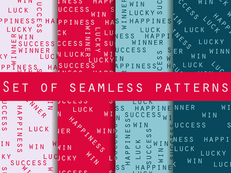 happiness or success: Success and happiness. Set of seamless pattern with words. For wallpaper, bed linen, tiles, fabrics, backgrounds. Vector illustration.