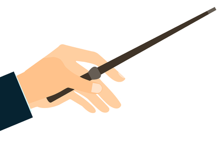 abracadabra: Magic wand. Hand holding a wand on a white background. Vector illustration.