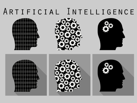 artificial: Silhouette of human head. Artificial intelligence, head with gears. Icon set in a flat design with long shadow. Vector illustration. Illustration