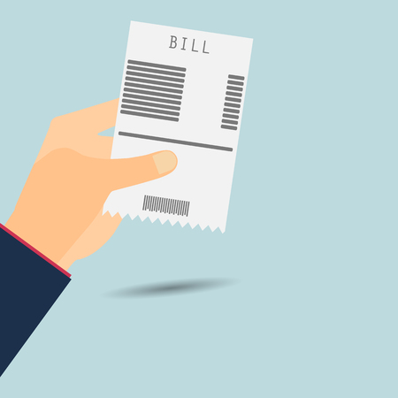 paying bills: Paying bills. Hand holds invoice. Vector illustration.