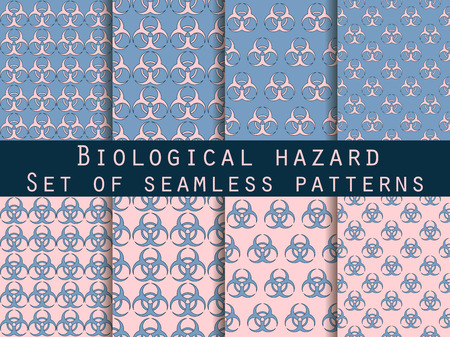 biohazard: Set of seamless patterns with biohazard symbol. Rose quartz and serenity violet colors. For wallpaper, bed linen, tiles, fabrics, backgrounds. Vector illustration. Illustration