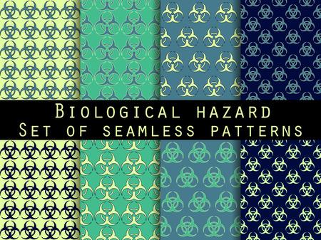 symbole chimique: Ensemble de modèles sans couture avec le symbole de biohazard. Pour papier peint, linge de lit, les carreaux, les tissus, les milieux. Vector illustration.