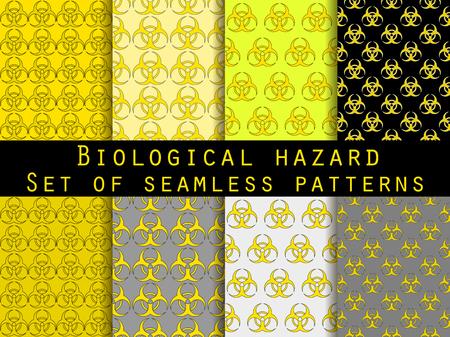 riesgo biologico: Conjunto de patrones sin fisuras con símbolo de riesgo biológico. Para fondos de escritorio, ropa de cama, azulejos, tejidos, antecedentes. Ilustración del vector. Vectores