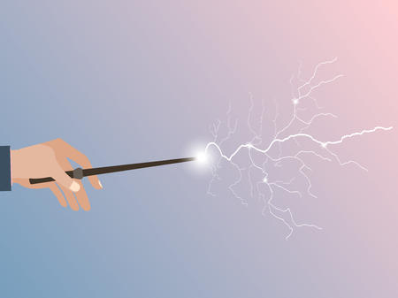Toverstaf. Magic stick in de hand. Magic bliksem. Rozenkwarts en sereniteit paarse achtergrond. Vector illustratie.