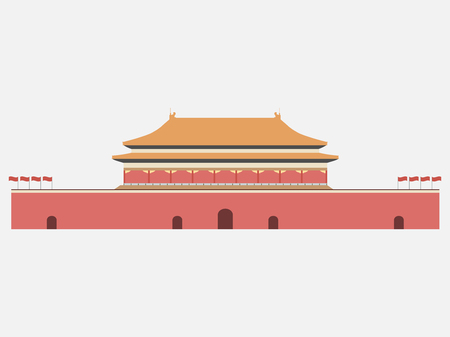 chinese pagoda: Forbidden City. Gate of Heavenly Peace. Tiananmen Square. Beijing.