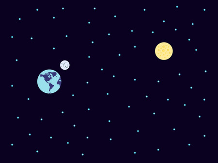 space flight: Space. Flight from Earth to Mars. Stars. Vector. Illustration