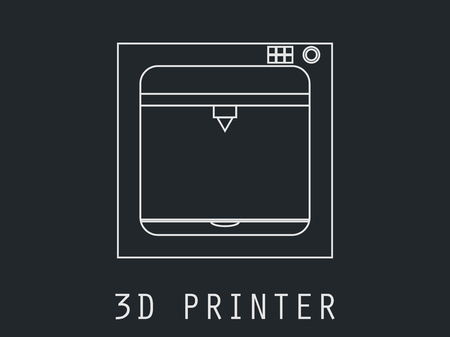3d printer icon from the geometric lines.