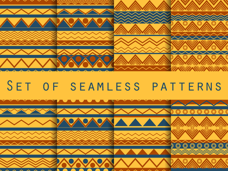 linen texture: Set the texture seamless in ethnic style. Tribal seamless texture. Seamless pattern in hippie style. For wallpaper, bed linen, tiles, fabrics, backgrounds. Vector illustration. Illustration