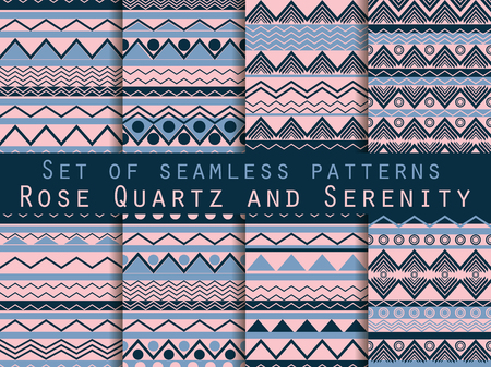 linen texture: Set the texture seamless in ethnic style. Tribal seamless texture. Rose quartz and serenity violet colors. For wallpaper, bed linen, tiles, fabrics, backgrounds. Vector illustration. Illustration