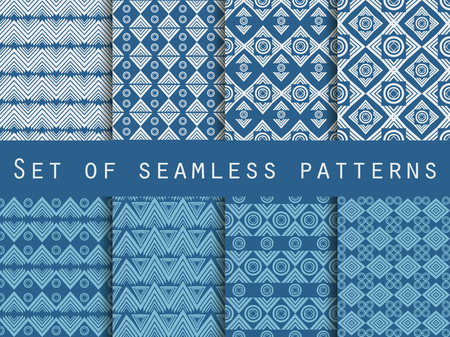 linen: Set the texture seamless in ethnic style. Geometric seamless pattern. For wallpaper, bed linen, tiles, fabrics, backgrounds. Vector illustration.