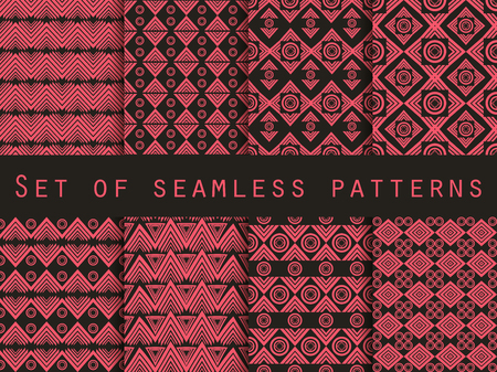 style geometric: Set the texture seamless in ethnic style. Geometric seamless pattern. For wallpaper, bed linen, tiles, fabrics, backgrounds. Vector illustration.