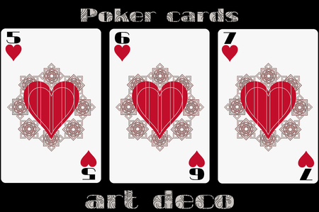 standard size: Poker playing card. 5 heart. 6 heart. 7 heart. Poker cards in the art deco style. Standard size card.