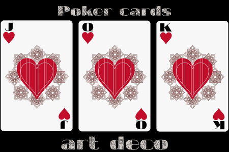 picture card: Poker playing card. Jack heart. Queen heart. King heart. Poker cards in the art deco style. Standard size card. Illustration