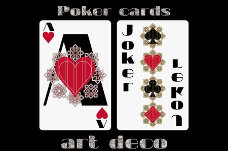 joker playing card: Poker playing card. Ace heart. Joker. Poker cards in the art deco style. Standard size card. Illustration