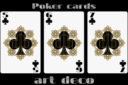 standard size: Poker playing card. 5 clubs. 6 clubs. 7 clubs. Poker cards in the art deco style. Standard size card.
