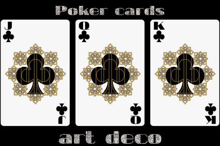 jack of clubs: Poker playing card. Jack clubs. Queen clubs. King clubs. Poker cards in the art deco style. Standard size card.