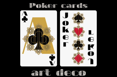 joker playing card: Poker playing card. Ace clubs. Joker. Poker cards in the art deco style. Standard size card.