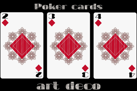 standard size: Poker playing card. 2 diamond. 3 diamond. 4 diamond. Poker cards in the art deco style. Standard size card.