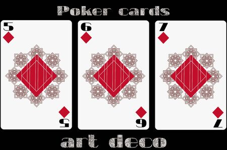 trump: Poker playing card. 5 diamond. 6 diamond. 7 diamond. Poker cards in the art deco style. Standard size card.